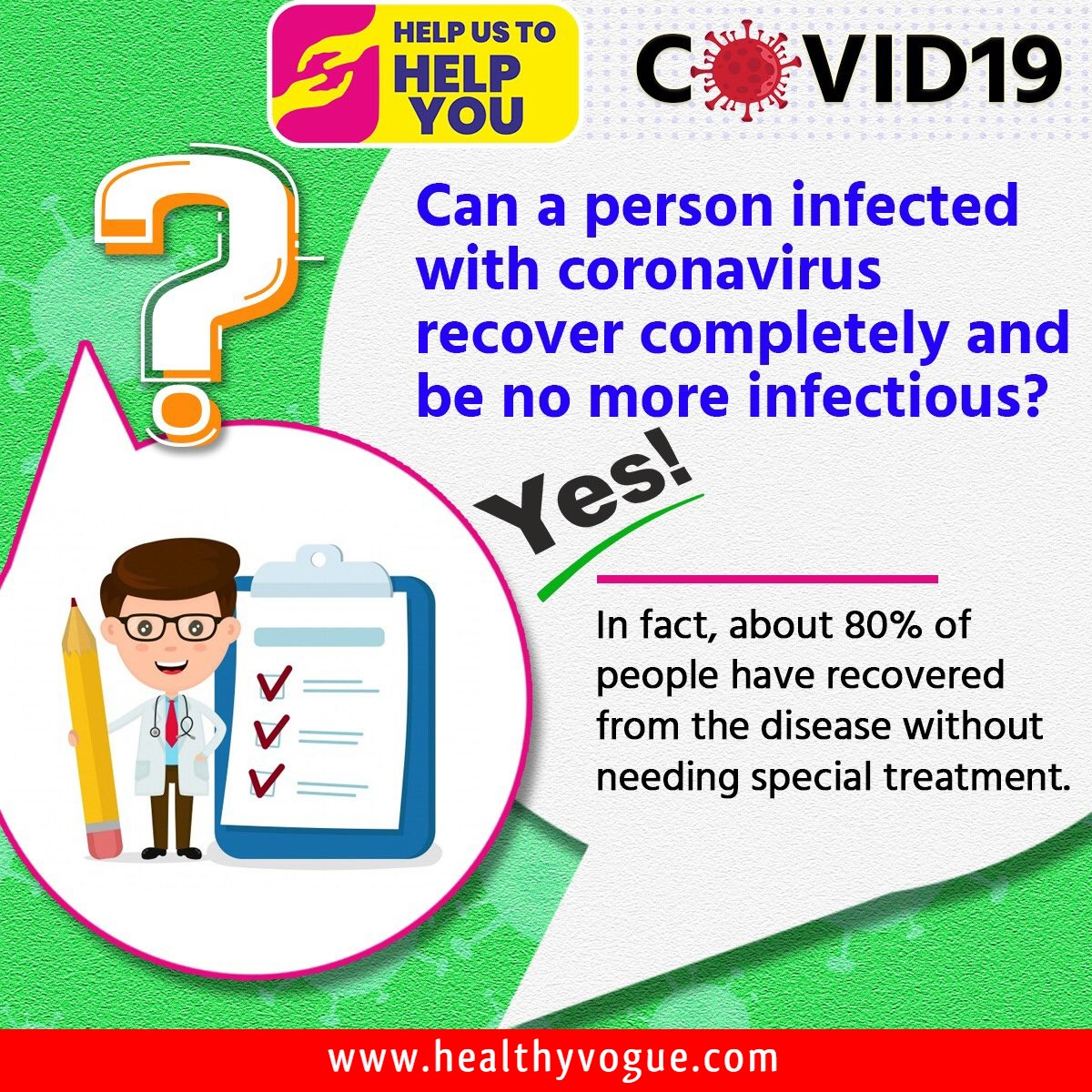 Can a person infected with coronavirus recover completely and be no more infectious?